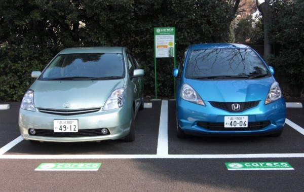 careco(カレコ・カーシェアリングクラブ)使用車両:ホンダフィット,トヨタプリウス